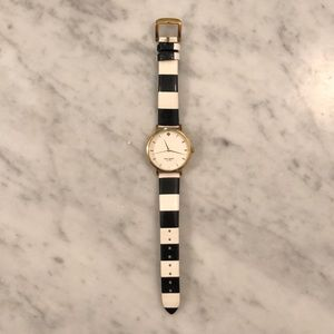Kate Spade ♠️ Black and White Striped Watch